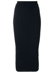 Kenzo Rib Knit Midi Skirt Women Polyester Viscose Wool S Blue