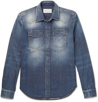 Maison Martin Margiela Slim Fit Washed Denim Shirt Blue