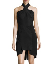 Sass And Bide Solid Pinstripe Cross Neck Dress Black