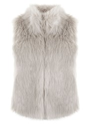 Mint Velvet Grey Textured Faux Fur Gilet