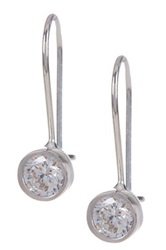 Amorium Sterling Silver Maria Cz Drop Earrings Metallic