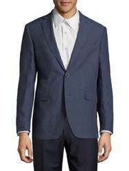 Black Brown Slim Fit Linen Sportcoat Blue