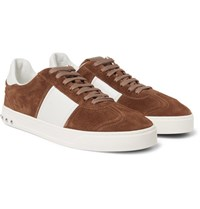 Valentino Flycrew Leather Panelled Suede Sneakers Tan