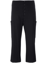 Dondup Drop Crotch Flared Cropped Trousers Black