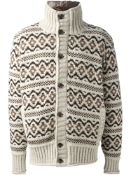 Dolce And Gabbana Fair Isle Cardigan Nude And Neutrals