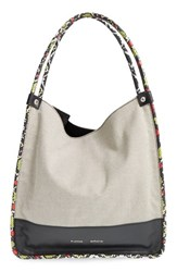 Proenza Schouler Medium Genuine Snakeskin And Canvas Tote Black Black White