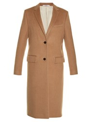 Valentino Rockstud Notch Lapel Coat Camel