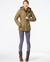 Rampage Hooded Quilted Puffer Coat Olive