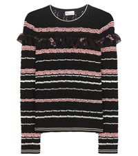 Red Valentino Striped Knitted Sweater Black