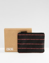 Asos Leather Zip Wallet In Black With Red Design