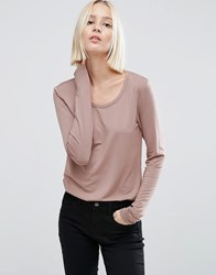 Asos T Shirt With Long Sleeve And Scoop Neck Mink Pink