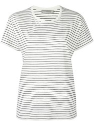 Vince Striped Relaxed T Shirt White