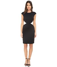 Maggy London Solid Scuba Color Block Sheath Black Soft White Women's Dress