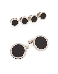 Kenneth Cole Cuff Link And Shirt Stud Set Silver Black