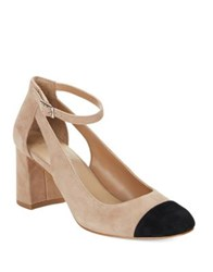 424 Fifth Geri Suede Cap Toe Heels Light Walnut