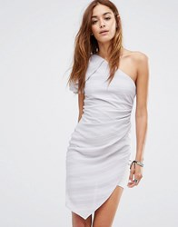 Religion One Shoulder Ribbed Mini Dress With Shoulder Ruffle H Grey