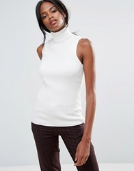 B.Young Roll Neck Sleeveless Top White