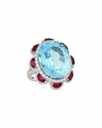 Picchiotti Blue Topaz And Ruby Cocktail Ring With Diamonds