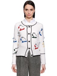 Thom Browne Ice Skates Merino Wool Knit Cardigan