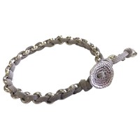 One Button Suede And Bead Bracelet Grey Silver