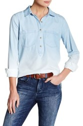 Jessica Simpson Poppy Ombre Chambray Shirt Beige