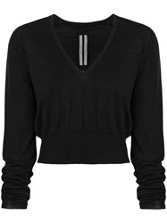 Rick Owens V Neck Cropped Sweater Black