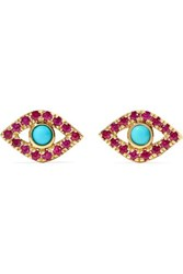 Sydney Evan Small Evil Eye 14 Karat Gold