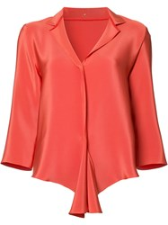 Peter Cohen Flounce Hem Blouse Yellow Orange