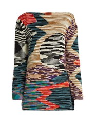 Missoni Boat Neck Long Sleeved Wool Blend Sweater Multi