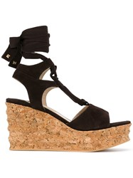 Paloma Barcelo Ankle Strap Wedge Sandals Brown