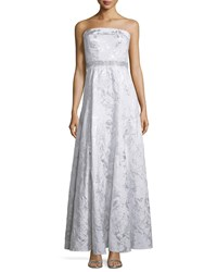 Carmen Marc Valvo Strapless Embellished Waist Gown Silver