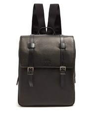 Prada Top Flap Grained Leather Backpack Black