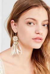 Fiona Paxton Beaded Feather Statement Earring Gold