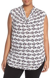 Plus Size Women's Halogen Drape Neck Sleeveless Top Ivory Grey Galaxy Print