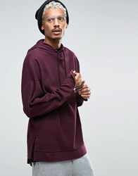 Asos Oversized Hoodie In Heavy Waffle With Sleeve Zips Oxblood Red