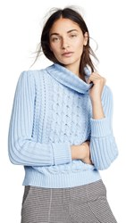 Bop Basics Cable Knit Turtleneck Sweater Icy Blue