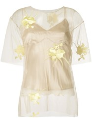 Helmut Lang Embroidered Floral Top Nude And Neutrals