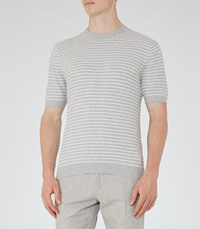 Reiss Marley Mens Short Sleeved Knitted T Shirt In Grey