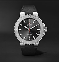 Oris Aquis Date Relief Automatic 43.5Mm Stainless Steel And Leather Watch Gray