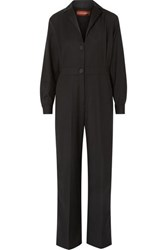 Alexachung Satin Trimmed Wool Blend Jumpsuit Black