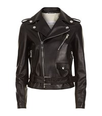 Valentino Leather Motorcycle Jacket Female Black