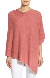 Women's Eileen Fisher Organic Linen And Cotton Knit Poncho Pink Bright Sandstone