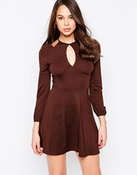 Ax Paris Cold Shoulder Dress With Keyhole Chocolate Brown