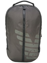 Emporio Armani Logo Print Backpack Grey