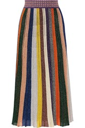 Missoni Pleated Metallic Striped Crochet Knit Midi Skirt Yellow
