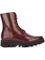 Swear Lace Up Boots Red