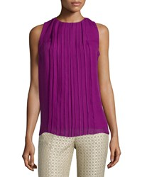 Etro Sleeveless Jewel Neck Plisse Top Magenta Pink Women's