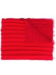 Valentino Garavani Pleated And Lace Scarf Red