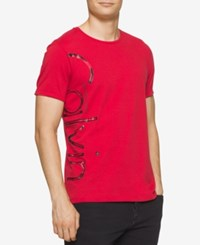 Calvin Klein Jeans Men's Distressed Foil Graphic Print T Shirt Red Star