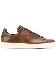 Tom Ford Leather Lace Up Sneakers Brown